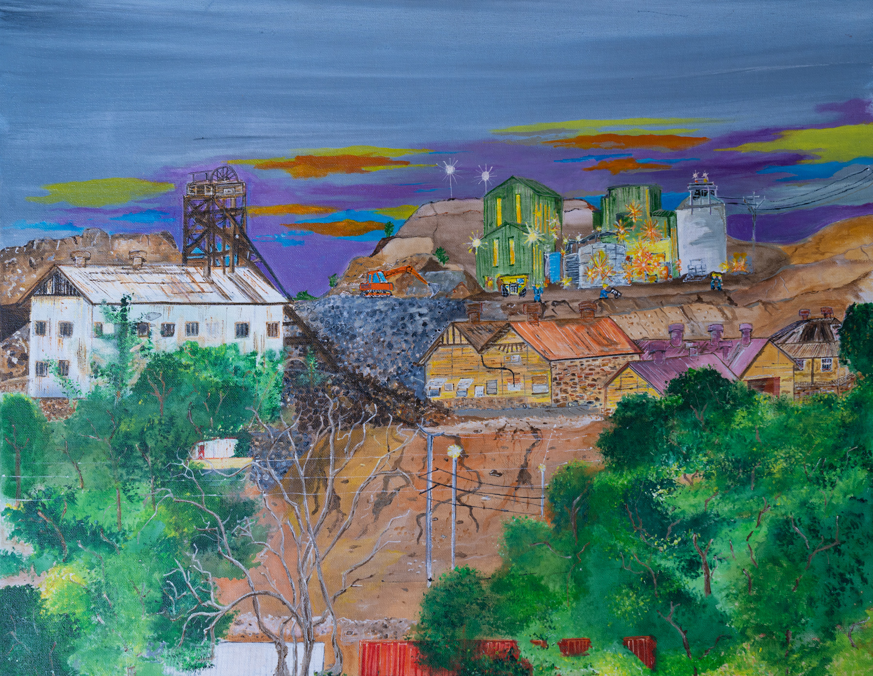 Painting of the mine site at Broken Hill, under a purple sky
