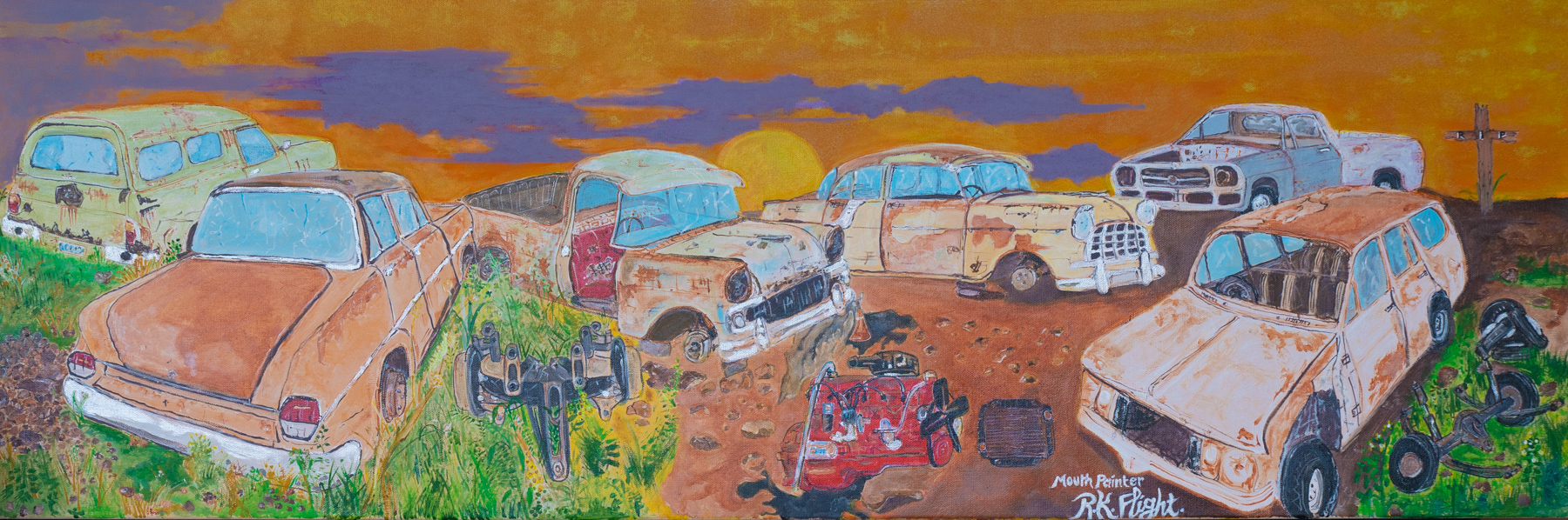 Painting of rusted old cars with an orange and purple skye