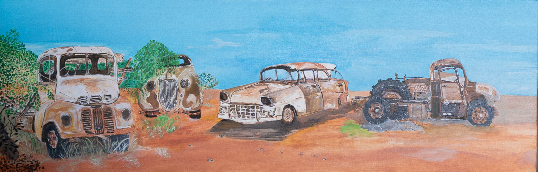 Painting of rusty cars under a blue sky