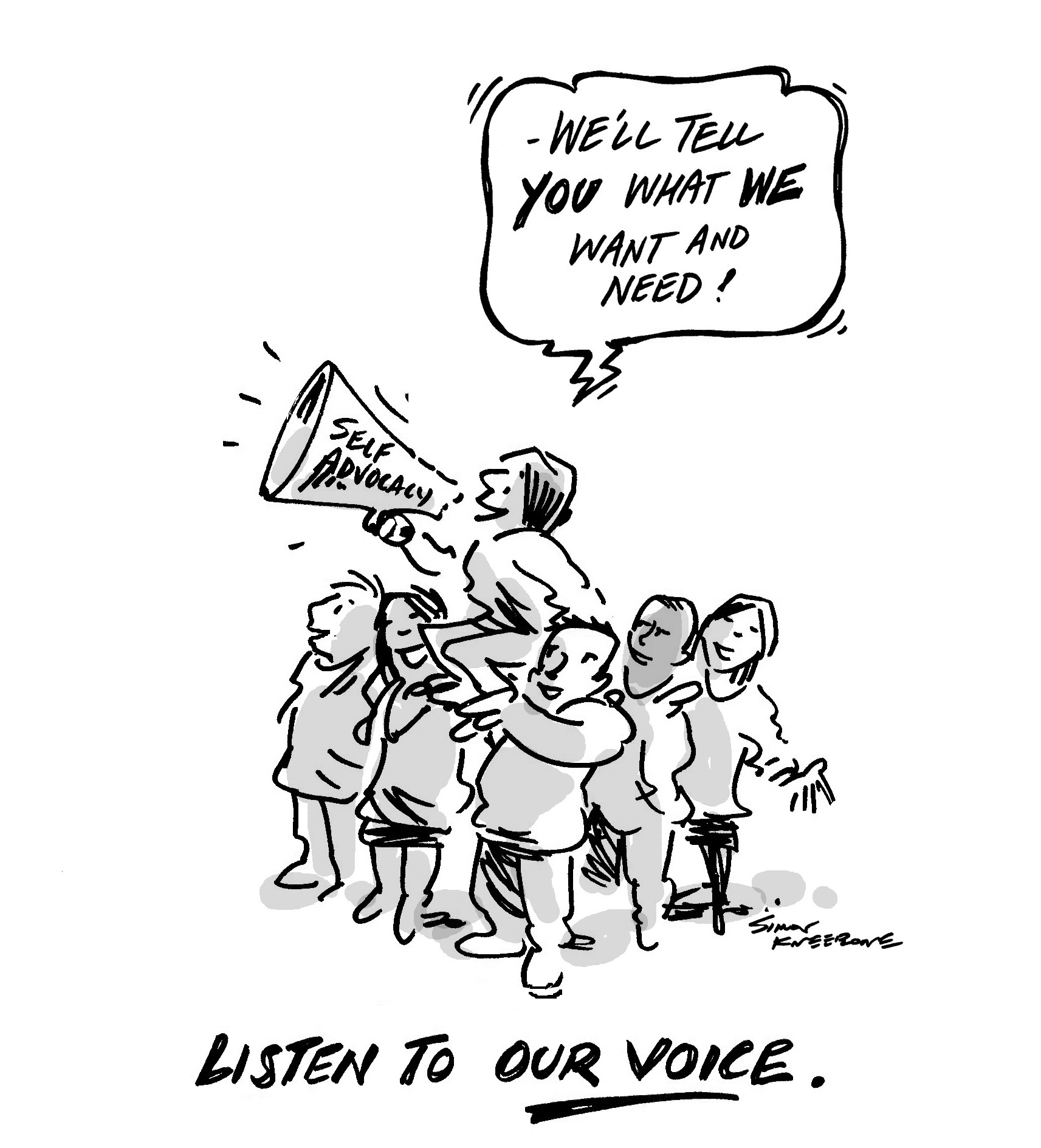 Our Voice cartoon says 'We'll tell you what we want and need!'