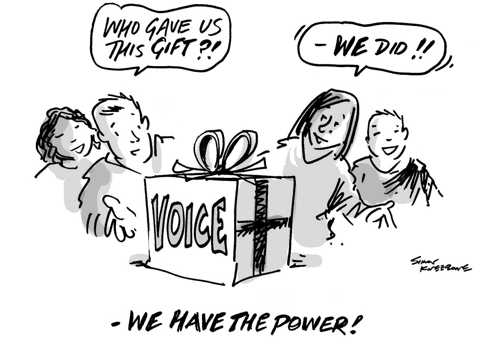 Our Voice cartoon shows people with a gift of their own voices