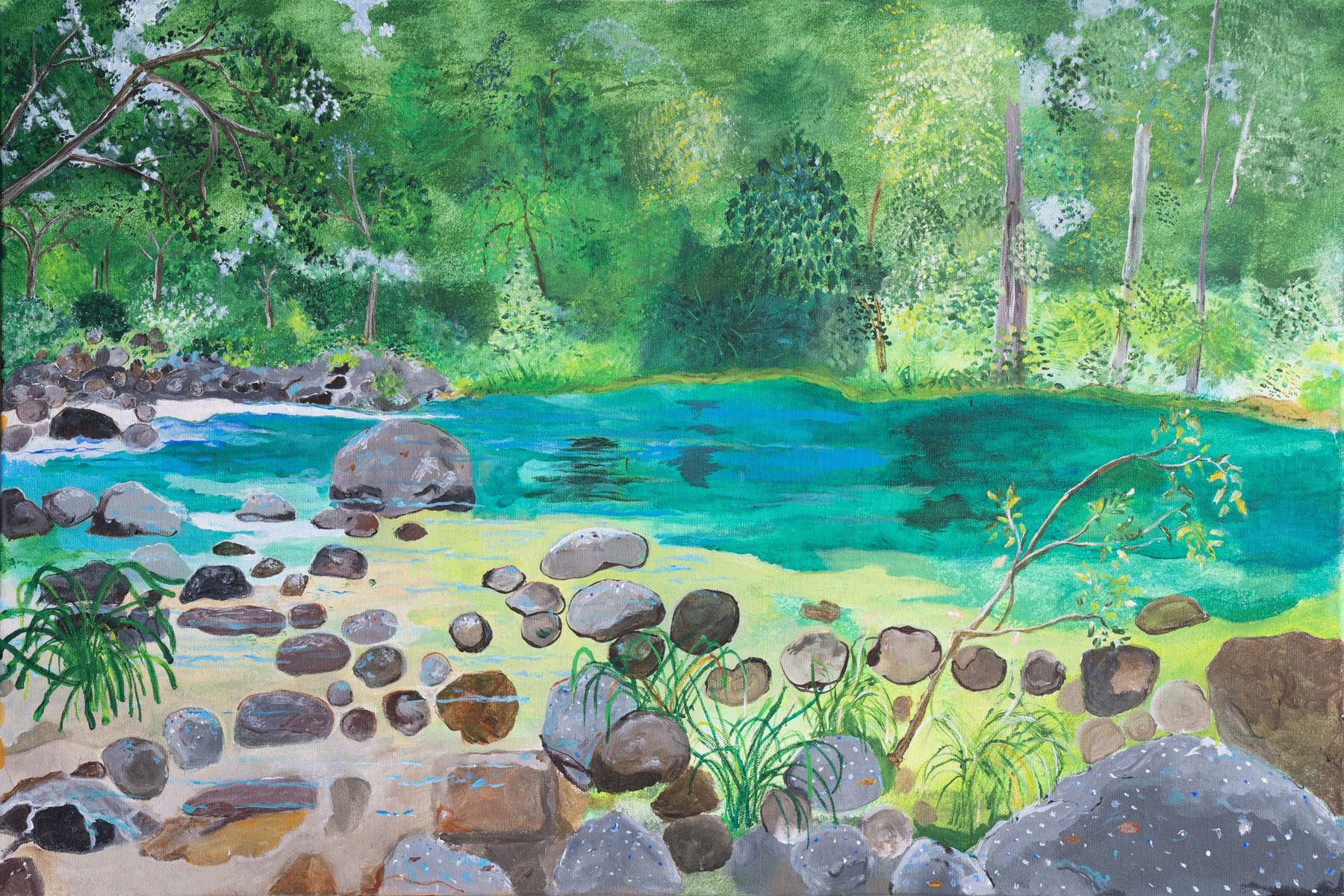 Nature painting, showing a pond, stones and trees