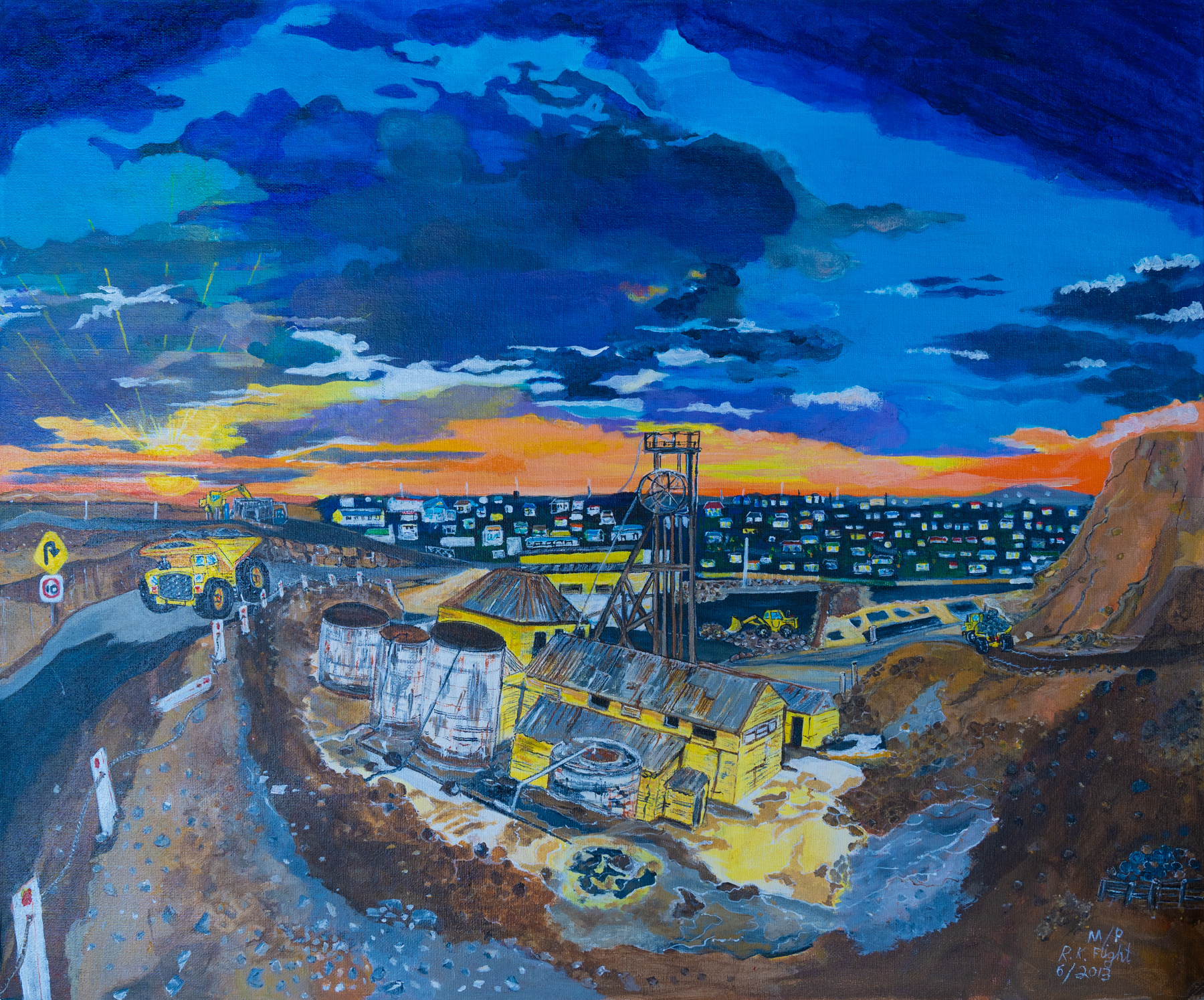 Painting showing the mine at Broken Hill under a dark blue sky