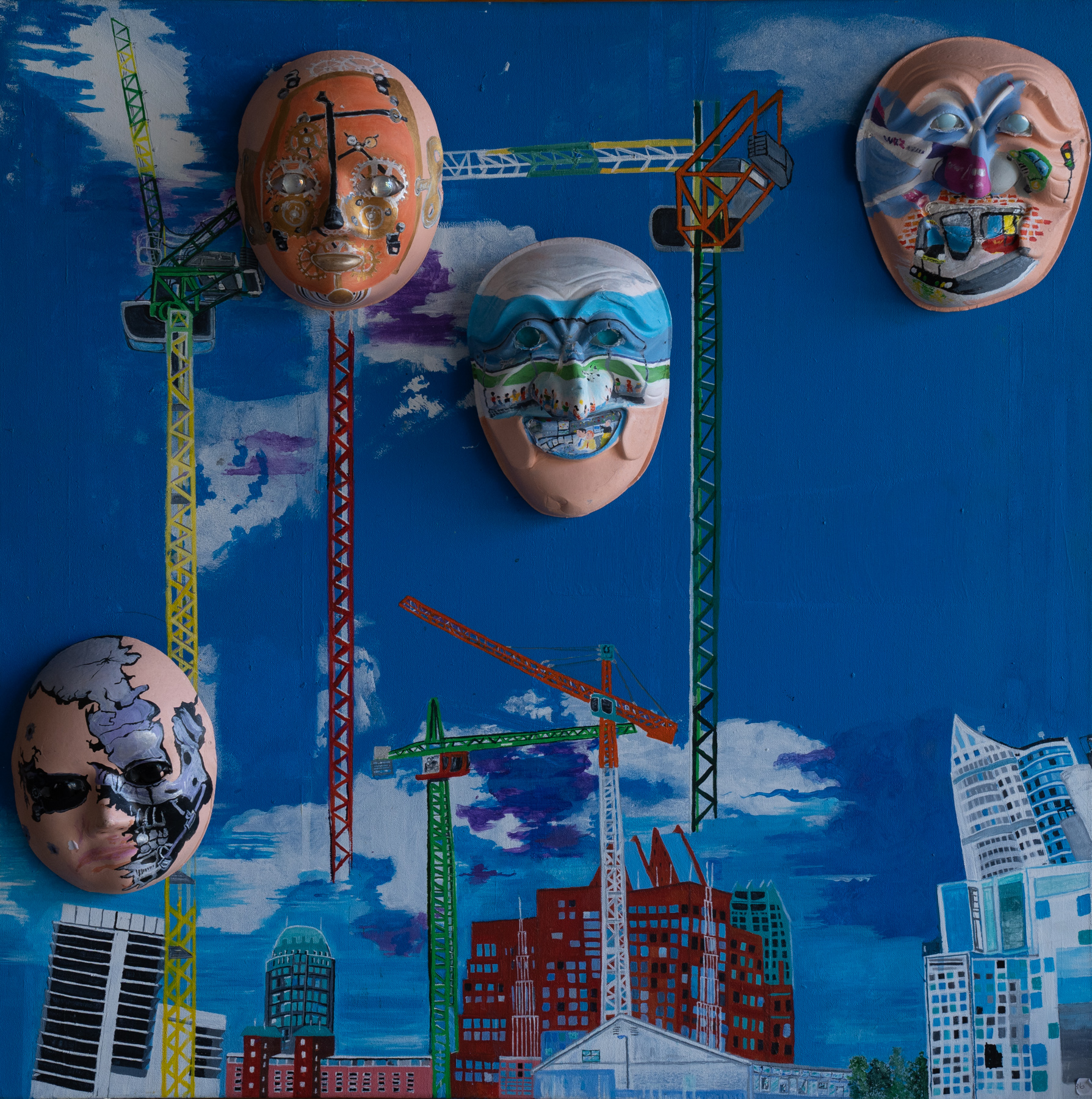 A painting of cranes over a city, with painted masks in the sky