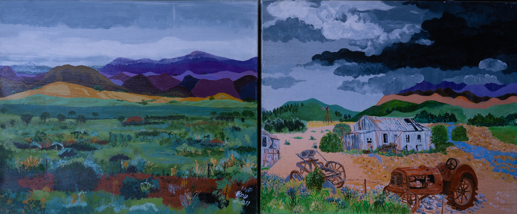 Two paintings of country scape with moody purple, blue, grey sky