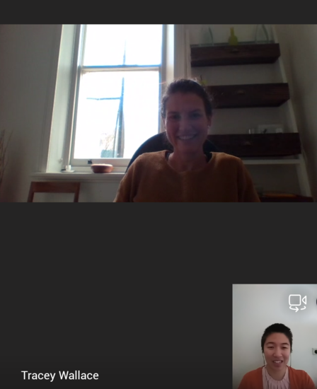 Teams call between Tracey and Isabel. Tracey is wearing an orange jumper and in her study, with a wide window and shelves behind her. Isabel is wearing a pink top with a rust coloured cardigan over it and earphones. Both are smiling at the camera.