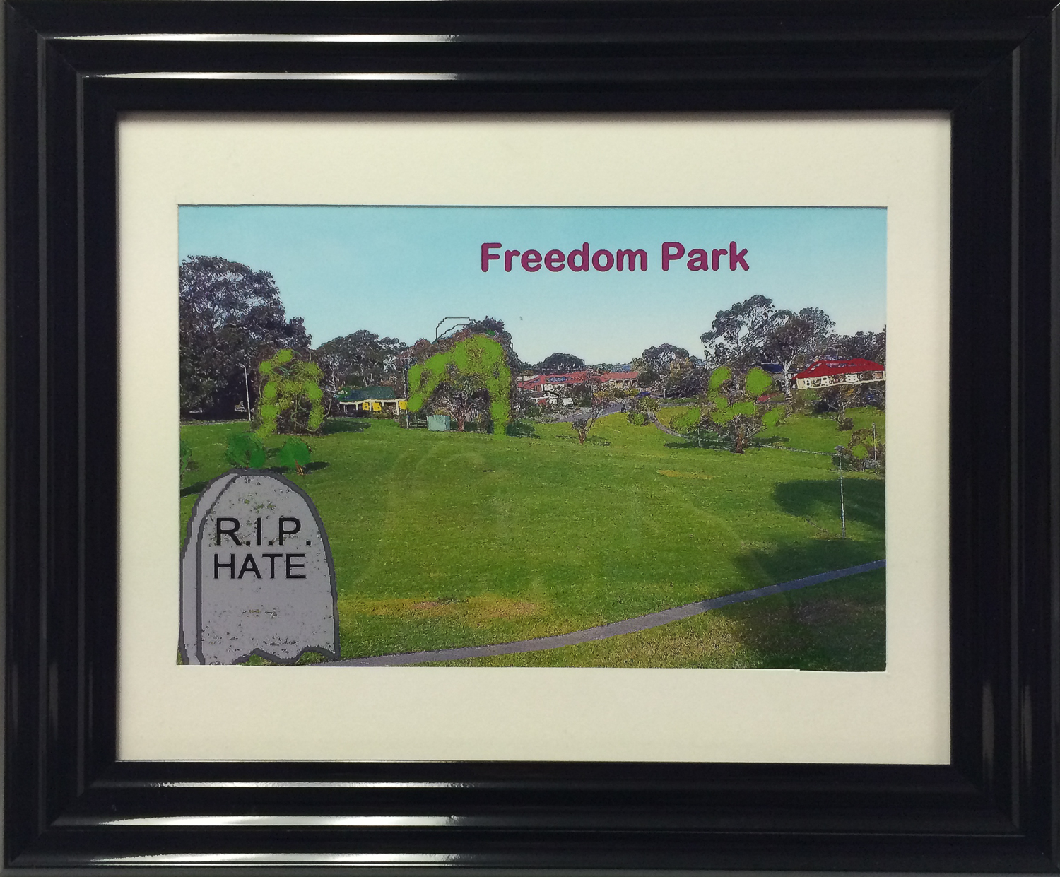 Painting of park with a tombstone that says RIP hate