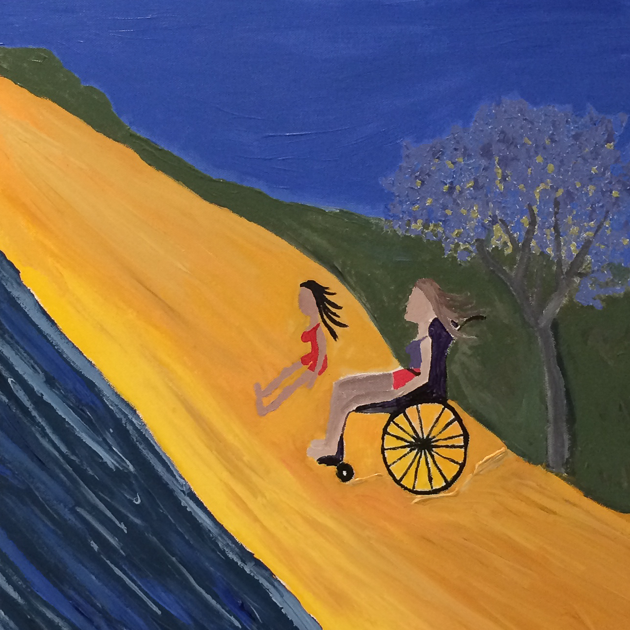 Painting of two people by the sea, one using a wheelchair