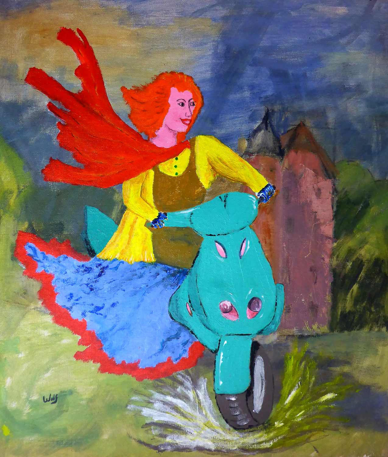 Painting of woman on a motor bike looking happy