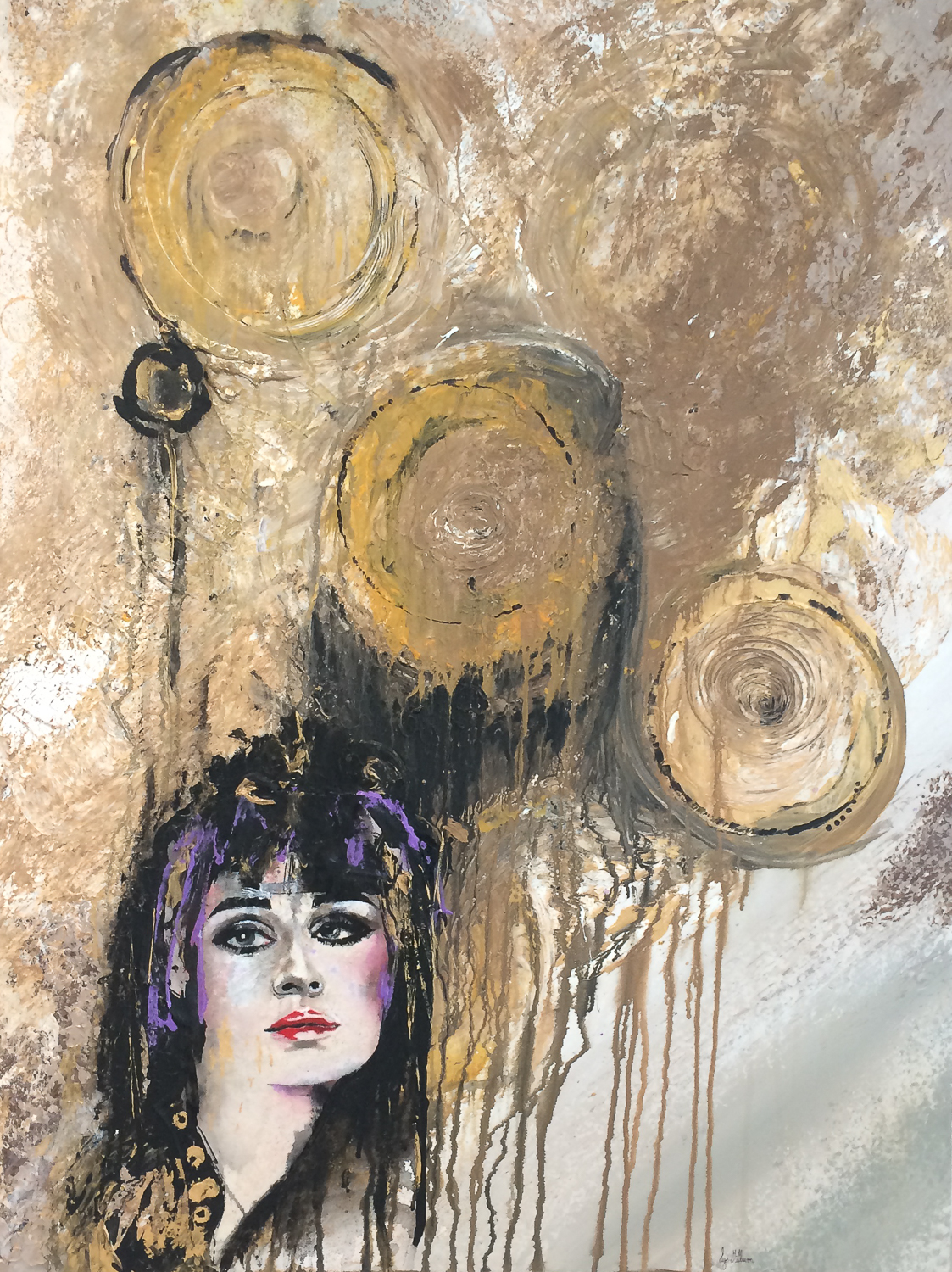 Painting of a woman with abstract balloons above her