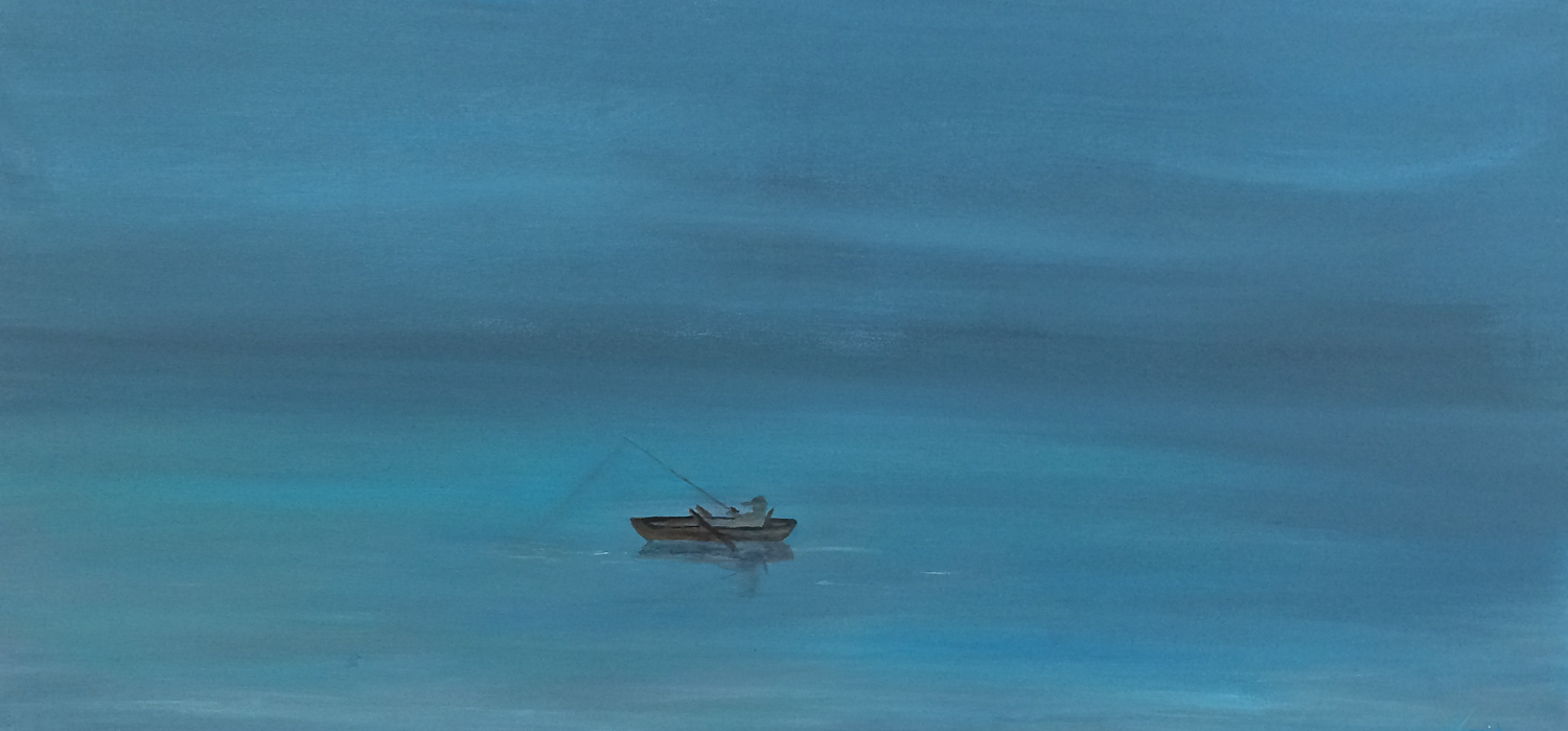A painting of a tiny boat one a big ocean