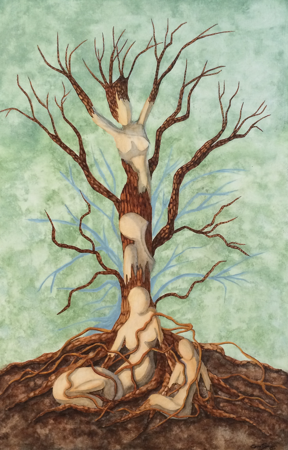 Painting of human bodies growing into a tree, looking proud at the top canopy