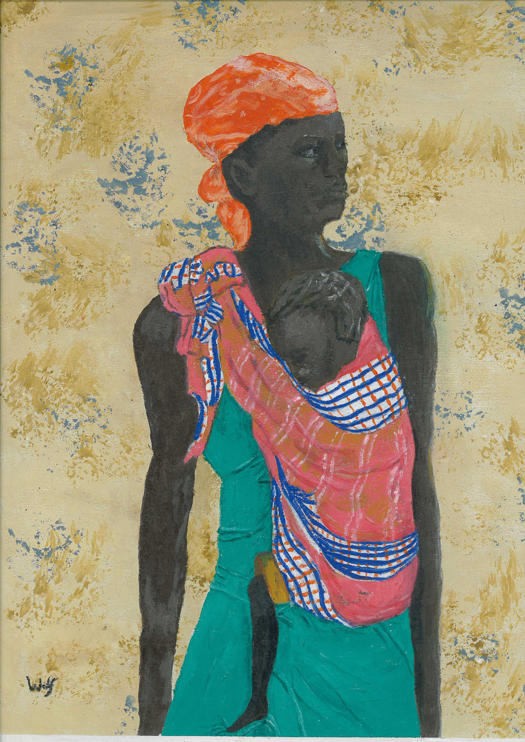 Colourful painting of woman carrying her baby in a wrap